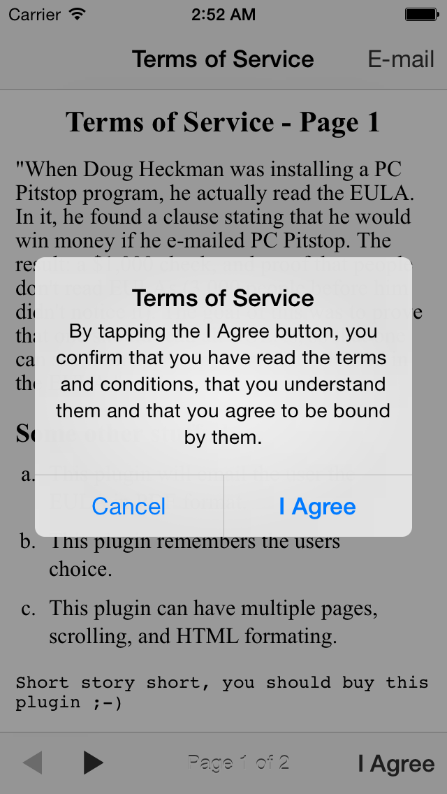 terms of service eula buzztouch plugin