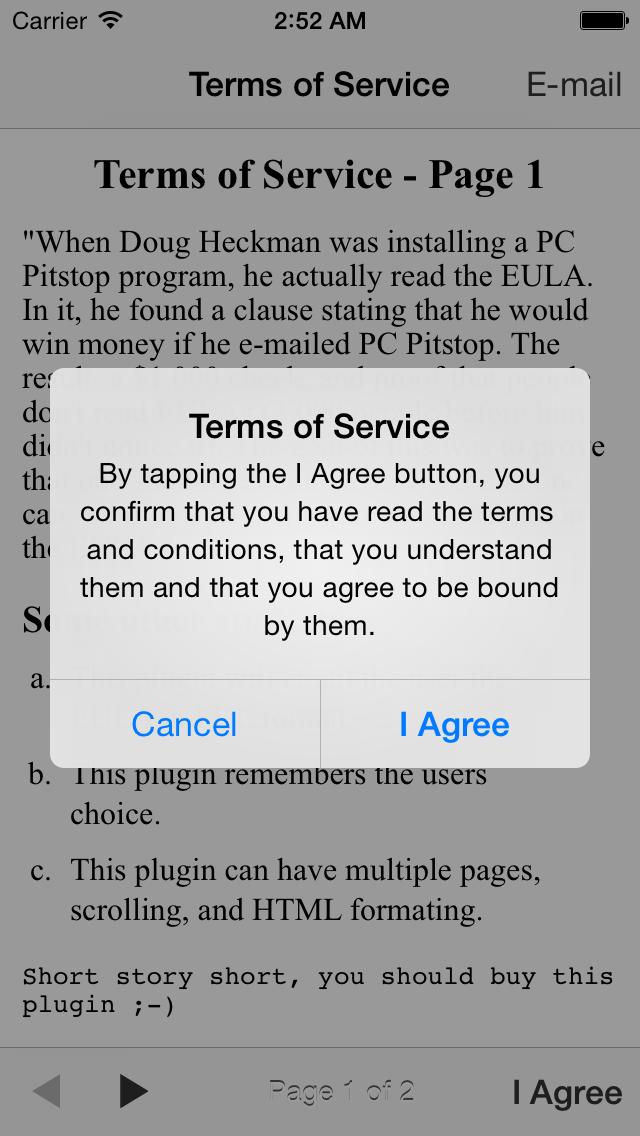 Terms of Service  EULA  Buzztouch Plugin